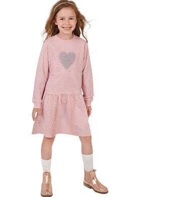 Endo - Sukienka z długim rękawem, z sercem, różowa, 2-8 lat D04H030_1 23