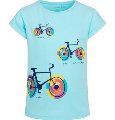 Endo - T shirt z krótkim rękawem dla dziewczynki, w kolorowe rowery, niebieski, 2-8 lat D05G164_3,1