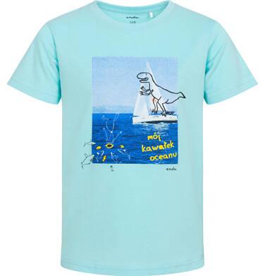 Endo - T-shirt z krótkim rękawem dla chłopca, z żaglówką, niebieska, 3-8 lat C06G073_2 135