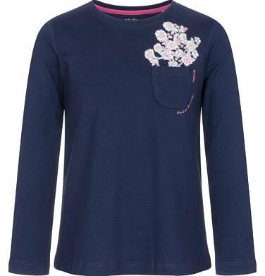Bluzka z długim rękawem dla dziewczynki, z kieszonką, granatowa, 3-8 lat D92G007_2