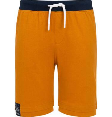 Endo - Krótkie spodenki dla chłopca, z naszywką na dole nogawki, musztardowe, 9-13 lat C06K008_4 188