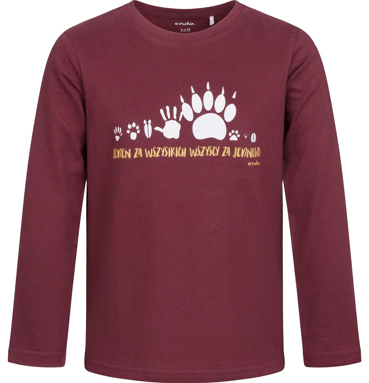 Endo - T-shirt z długim rękawem dla chłopca, bordowy, 2-8 lat C04G096_1