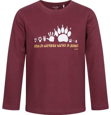 T-shirt z długim rękawem dla chłopca, bordowy, 2-8 lat C04G096_1