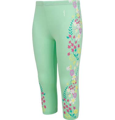 Endo - Legginsy 3/4 dla dziewczynki, deseń w kwiaty, zielone, 2-8 lat D03K040_1,2