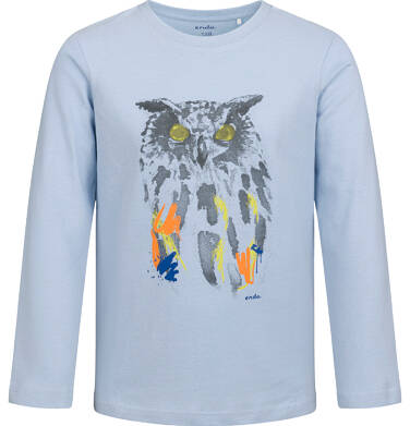 Endo - T-shirt z długim rękawem dla chłopca, z sową, niebieski, 2-8 lat C04G101_1 33
