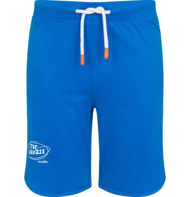 Endo - Krótkie spodenki dla chłopca, z napisem na nogawce, niebieskie, 3-8 lat C06K016_1 11
