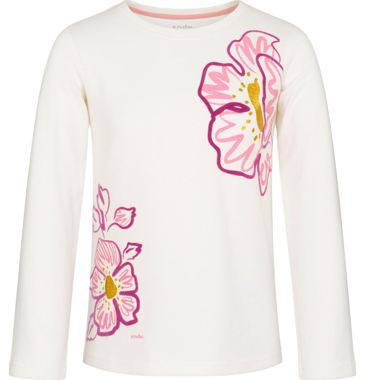 Endo - Bluzka z długim rękawem dla dziewczynki, kwiatowy nadruk, złamana biel, 3-8 lat D92G010_1