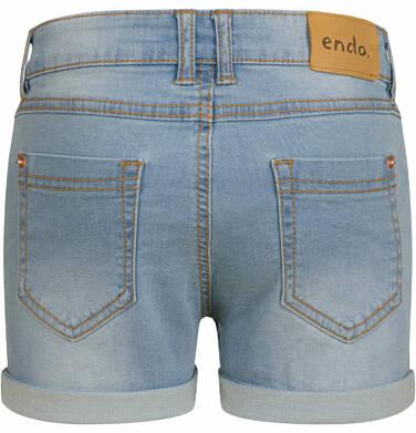 Endo - Krótkie spodenki jeansowe dla dziewczynki, jasnoniebieskie, 2-8 lat D03K029_1,2