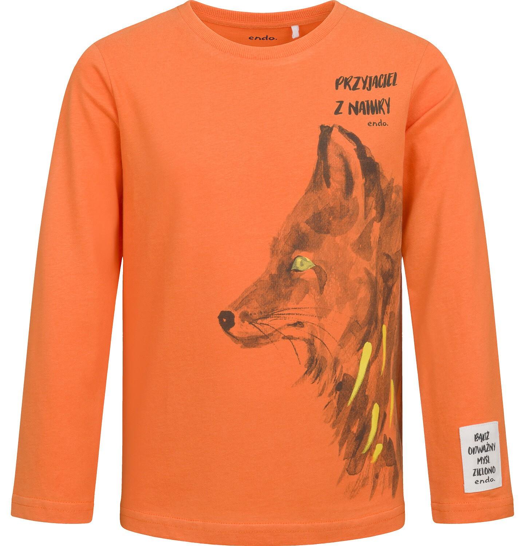 Endo - T-shirt z długim rękawem dla chłopca, z wilkiem, pomarańczowy, 2-8 lat C04G106_1