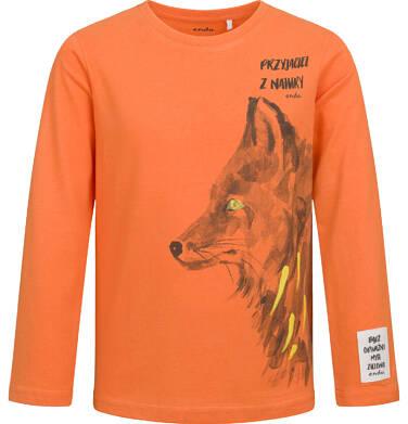 Endo - T-shirt z długim rękawem dla chłopca, z wilkiem, pomarańczowy, 2-8 lat C04G106_1 32