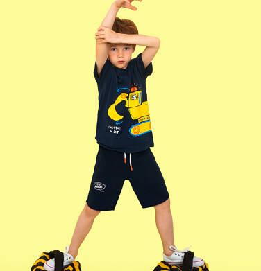 Endo - Krótkie spodenki dla chłopca, z napisem na nogawce, granatowe, 3-8 lat C06K016_2 17