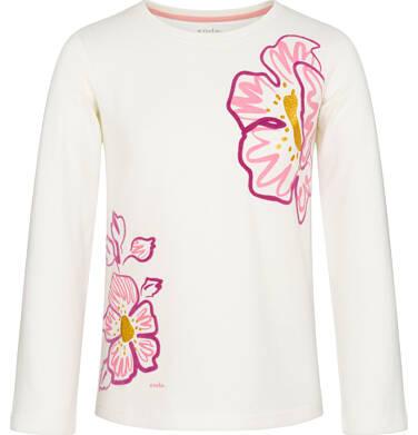 Endo - Bluzka z długim rękawem dla dziewczynki, kwiatowy nadruk, złamana biel, 9-13 lat D92G510_1 175