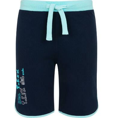 Endo - Krótkie spodenki dla chłopca, z napisem na nogawce, kontrastowa lamówka, granatowe, 3-8 lat C06K020_1 9