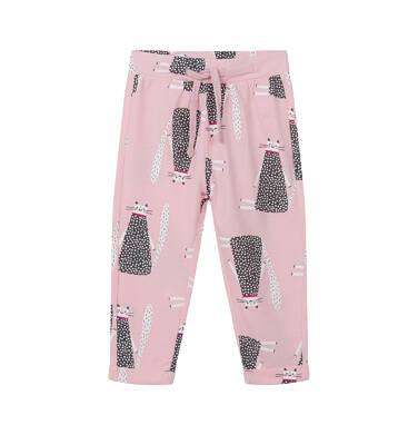 Spodnie dla dziecka do 2 lat, deseń w koty, różowe N03K036_1