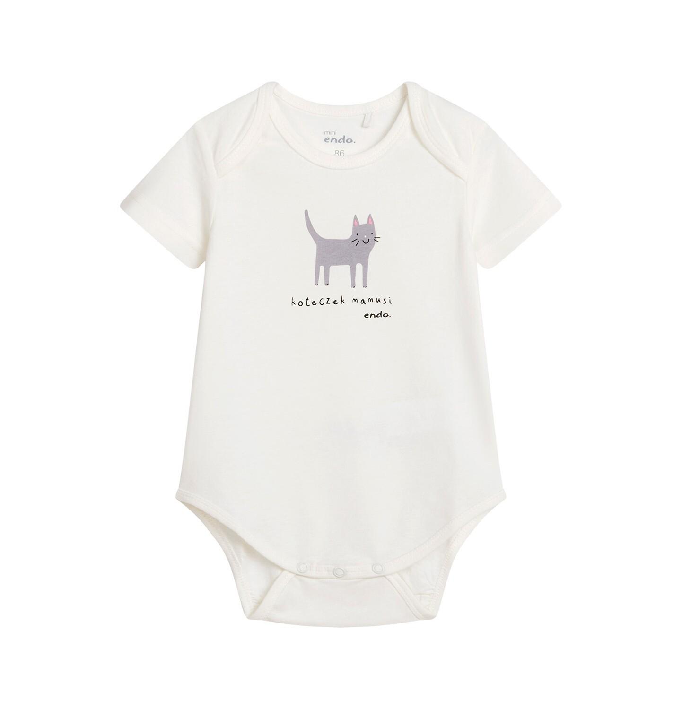 Endo - Body dla dziecka z krótkim rękawem, białe N04M031_1