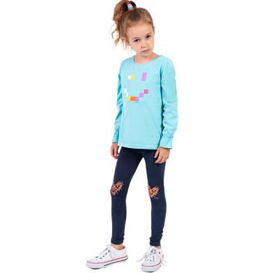 Endo - Legginsy dla dziewczynki, z sercem na kolanach, granatowe, 2-8 lat D04K008_1 16