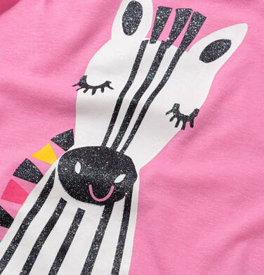 Endo - T shirt z krótkim rękawem dla dziewczynki, z zebrą, różowy, 2-8 lat D05G165_1,2