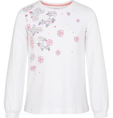 Endo - Bluzka z długim rękawem dla dziewczynki, kwiatowy nadruk, biała, 3-8 lat D92G011_1 23