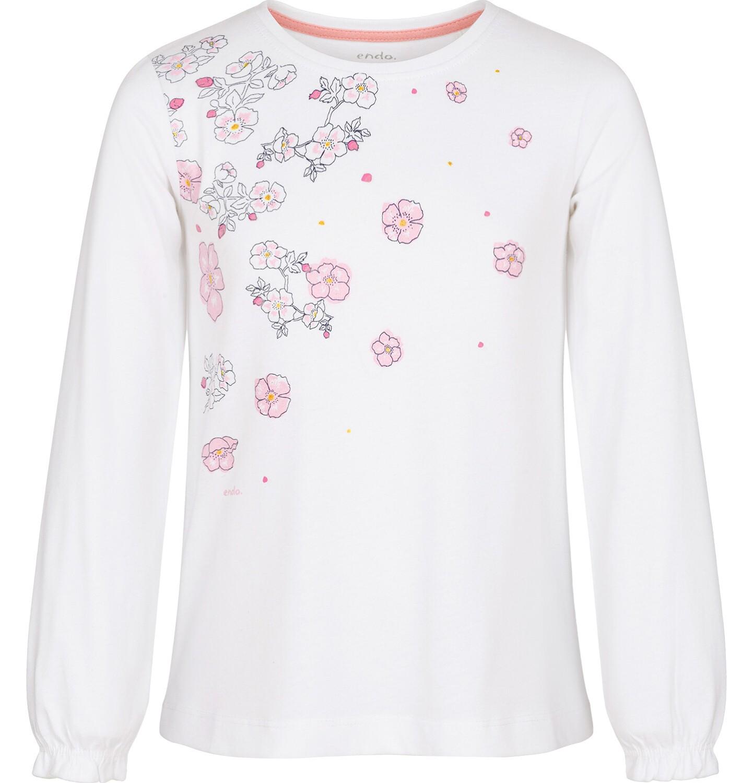 Endo - Bluzka z długim rękawem dla dziewczynki, kwiatowy nadruk, biała, 9-13 lat D92G511_1