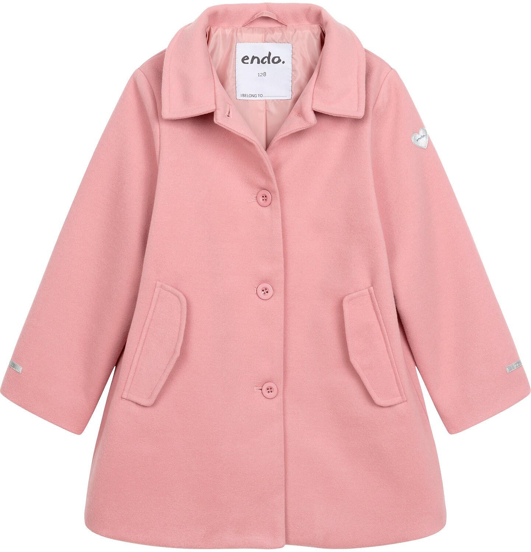 Endo - Płaszcz przejściowy dla dziewczynki, z kołnierzykiem, różowy, 9-13 lat D05A004_1