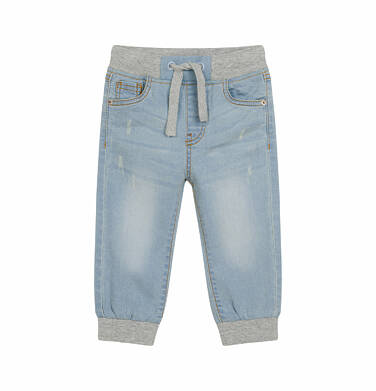 Spodnie jeansowe joggery dla dziecka do 2 lat, z dzianinowymi ściągaczami na nogawkach N03K030_1