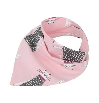 Chustka wiosenna dla dziecka, deseń w koty, różowa N03R017_1