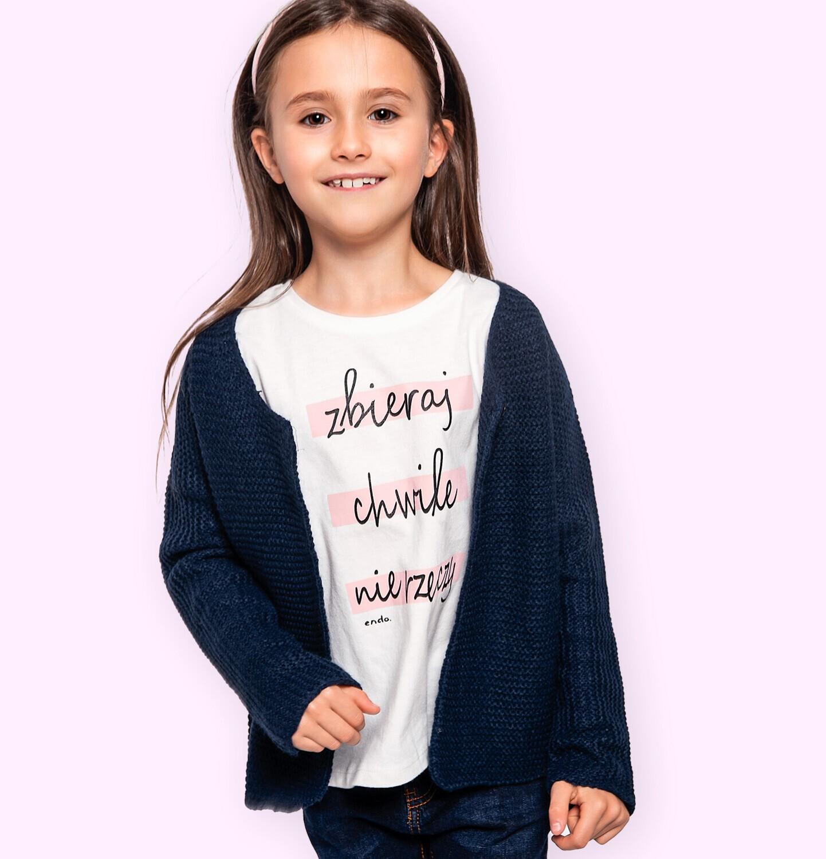 Endo - T-shirt z krótkim rękawem dla dziewczynki, z napisem zbieraj chwile nie rzeczy, kremowy, 3-8 lat D06G143_1