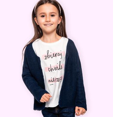 Endo - T-shirt z krótkim rękawem dla dziewczynki, z napisem zbieraj chwile nie rzeczy, kremowy, 3-8 lat D06G143_1 18