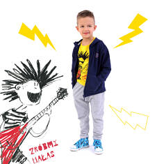 T-shirt z kontrastowym wykończeniem dla chłopca 4-8 lat C71G108_1