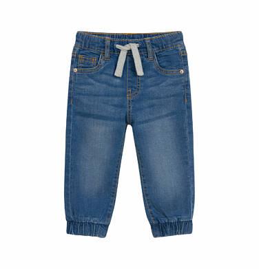 Endo - Spodnie jeansowe joggery dla dziecka do 2 lat, ze ściągaczami na nogawkach N03K031_1 16