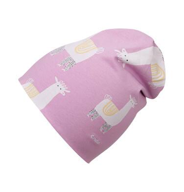 Endo - Czapka wiosenna dla dziecka do 2 lat, deseń w alpaki, różowa N03R018_1 19