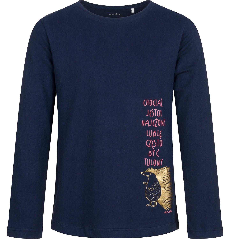 Endo - Bluzka dla dziewczynki z długim rękawem, z jeżem, granatowa, 9-13 lat D04G012_1