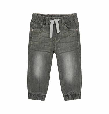Endo - Spodnie jeansowe joggery dla dziecka do 2 lat, ze ściągaczami na nogawkach, szare N03K031_2 77