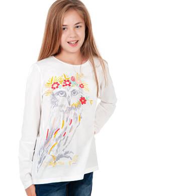 Bluzka dla dziewczynki z długim rękawem, z sową, kremowa, 9-13 lat D04G031_1