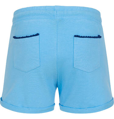 Endo - Krótkie spodenki dla dziewczynki, kieszonki z tyłu i podwinięte nogawki, niebieskie, 2-8 lat D06K004_1 20