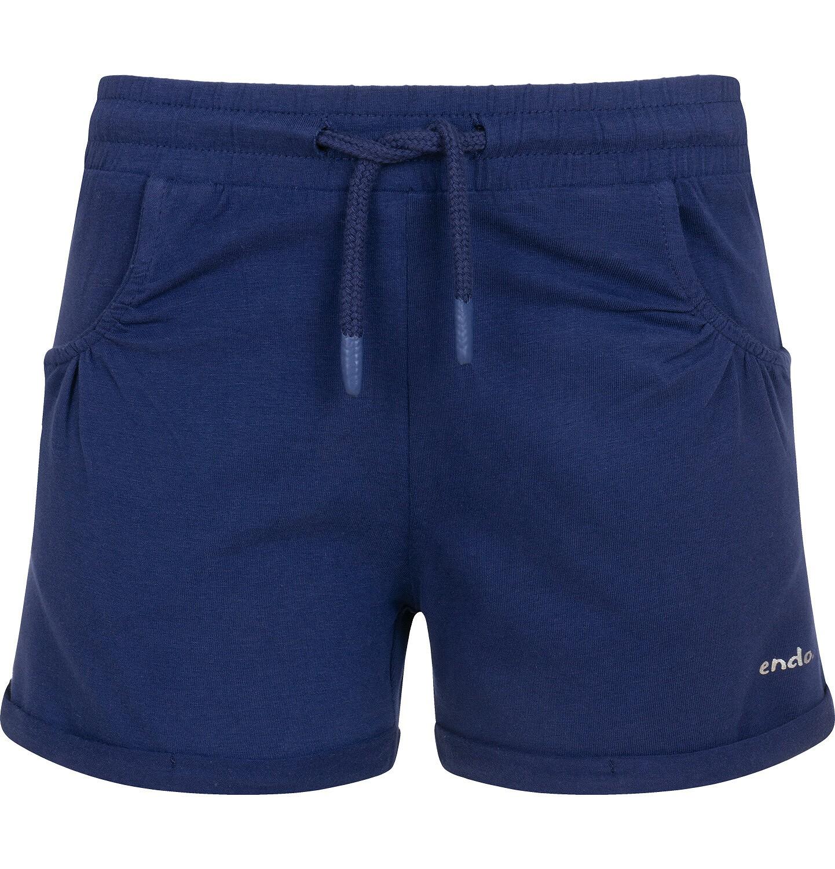 Endo - Krótkie spodenki dla dziewczynki, kieszonki z tyłu i podwinięte nogawki, granatowe, 3-8 lat D06K004_2