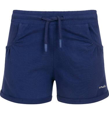 Endo - Krótkie spodenki dla dziewczynki, kieszonki z tyłu i podwinięte nogawki, granatowe, 3-8 lat D06K004_2,1