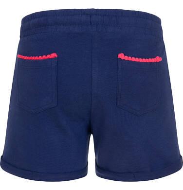 Endo - Krótkie spodenki dla dziewczynki, kieszonki z tyłu i podwinięte nogawki, granatowe, 3-8 lat D06K004_2,3