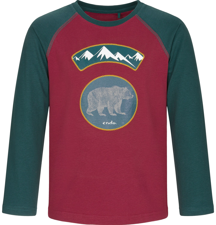Endo - T-shirt z długim rękawem dla chłopca, z niedźwiedziem, dwukolorowa, 9-13 lat C92G550_1