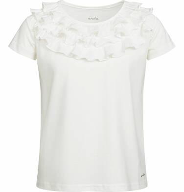 Endo - Bluzka z krótkim rękawem dla dziewczynki, z falbankami, porcelanowa, 9-13 lat D03G550_1