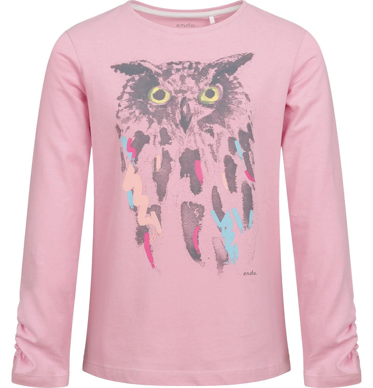 Endo - Bluzka dla dziewczynki z długim rękawem, z sową, różowa, 9-13 lat D04G035_1