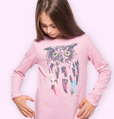 Endo - Bluzka dla dziewczynki z długim rękawem, z sową, różowa, 9-13 lat D04G035_1 19