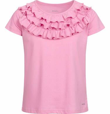 Endo - Bluzka z krótkim rękawem dla dziewczynki, z falbankami, różowa, 2-8 lat D03G050_2 6