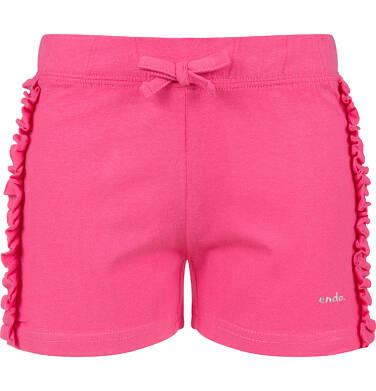 Endo - Krótkie spodenki dla dziewczynki, z falbankami po bokach, różowe, 9-13 lat D06K014_1 27