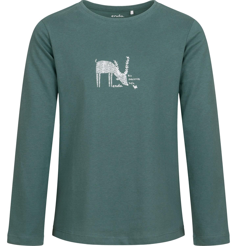 Endo - Bluzka dla dziewczynki z długim rękawem, leśny motyw, turkusowa, 9-13 lat D04G039_1