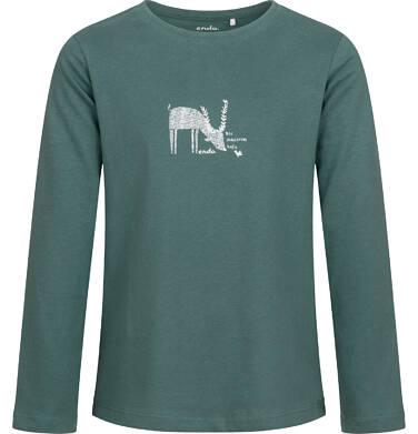Bluzka dla dziewczynki z długim rękawem, leśny motyw, turkusowa, 9-13 lat D04G039_1