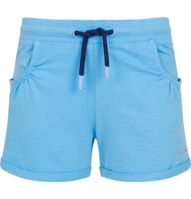 Endo - Krótkie spodenki dla dziewczynki, kieszonki z tyłu i podwinięte nogawki, niebieskie, 9-13 lat D06K017_1 17