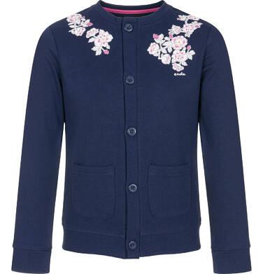 Endo - Rozpinana bluza dla dziewczynki, kwiatowy motyw, granatowa, 3-8 lat D92C004_1