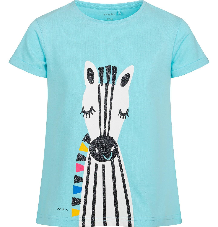 Endo - T shirt z krótkim rękawem dla dziewczynki, z zebrą, niebieski, 2-8 lat D05G165_2