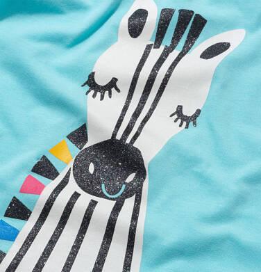 Endo - T shirt z krótkim rękawem dla dziewczynki, z zebrą, niebieski, 2-8 lat D05G165_2 20